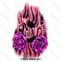 Różowa czaszka z różami
