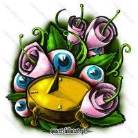Różowe kwiaty i zegar