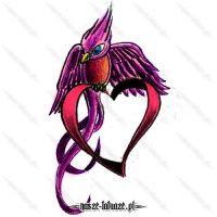 Różowy ptak z sercem