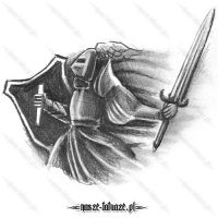 Rycerz z tarczą i mieczem
