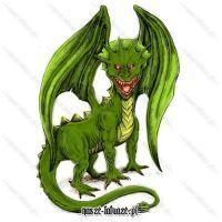 Zielony smok z czerwonymi oczami