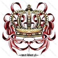 Złota korona i wstążki