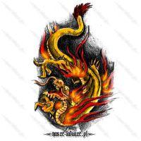 Złoty smok w ogniu