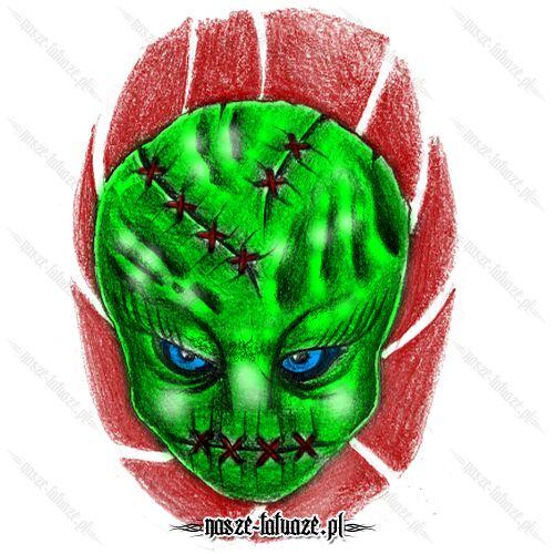 Zielona twarz monstera